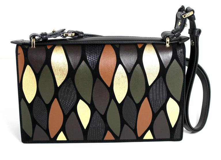 Salvatore Ferragamo Black Leather Leaf Motif Flap Bag- Fall 2016 2