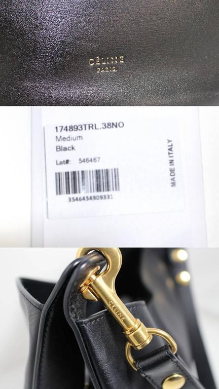Celine Black Smooth Leather Medium Hobo 7