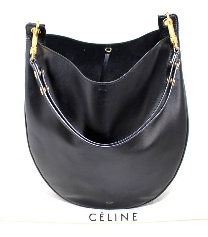 Celine Black Smooth Leather Medium Hobo 8