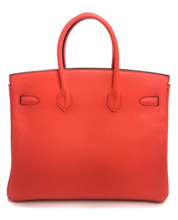 Hermès 35 cm Orange Poppy Birkin Bag- Togo Leather with GHW 3