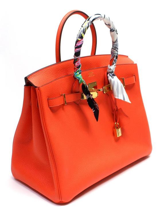 Hermès 35 cm Orange Poppy Birkin Bag- Togo Leather with GHW 4