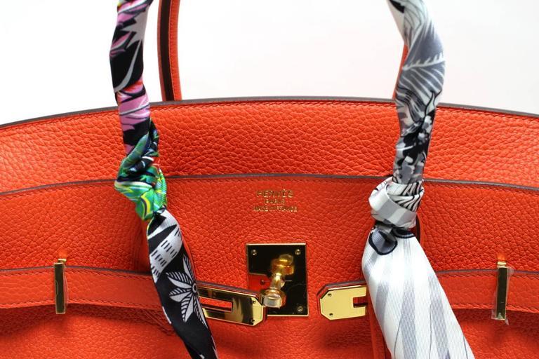 Hermès 35 cm Orange Poppy Birkin Bag- Togo Leather with GHW 6