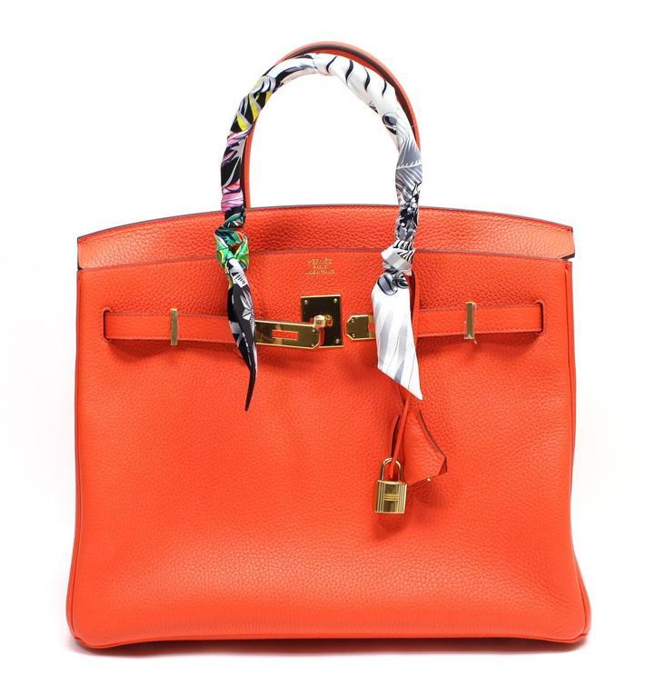 Hermès 35 cm Orange Poppy Birkin Bag- Togo Leather with GHW 10