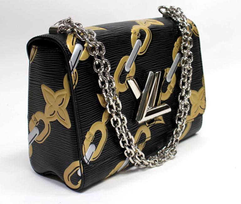 Louis Vuitton Chain Flower Epi Twist MM in Black Noir 3