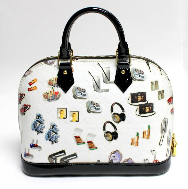 Louis Vuitton White Vernis Stickers Alma PM Bag 2