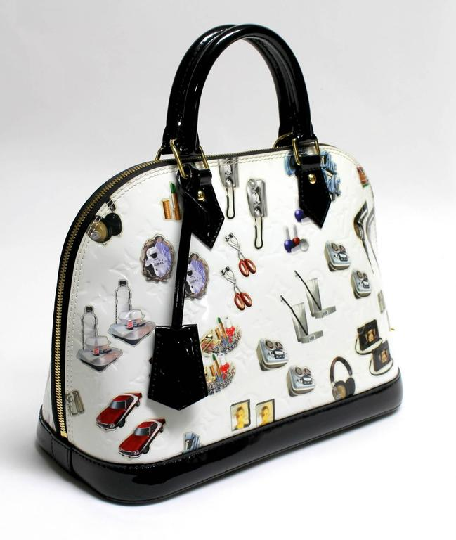 Louis Vuitton White Vernis Stickers Alma PM Bag 3