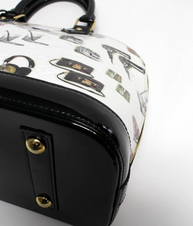 Louis Vuitton White Vernis Stickers Alma PM Bag 5