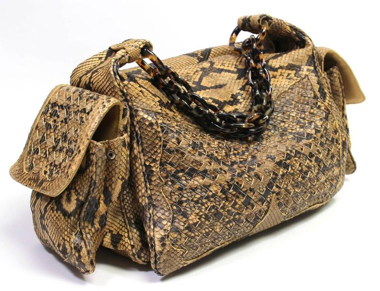 Bottega Veneta Brown Python Crocker Bag 3