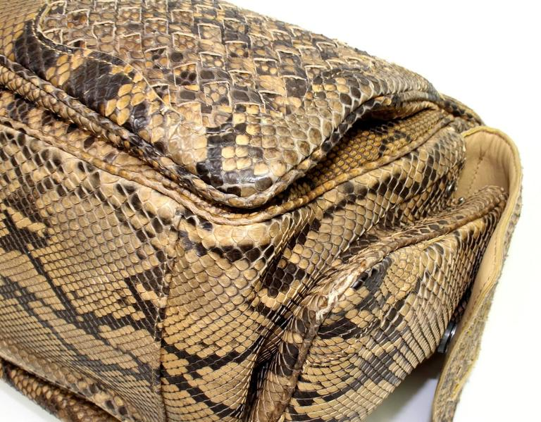 Bottega Veneta Brown Python Crocker Bag 5