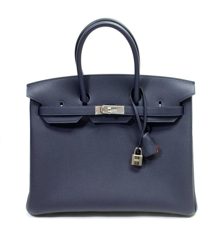 Hermès Verso 35 cm Birkin Bag- Bleu Nuit and Orange Poppy Togo Leather 2