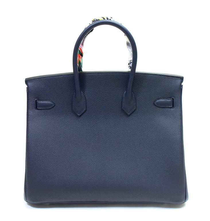Hermès Verso 35 cm Birkin Bag- Bleu Nuit and Orange Poppy Togo Leather 3