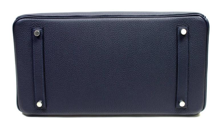 Hermès Verso 35 cm Birkin Bag- Bleu Nuit and Orange Poppy Togo Leather 4