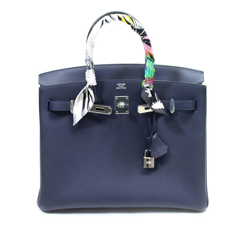 Hermès Verso 35 cm Birkin Bag- Bleu Nuit and Orange Poppy Togo Leather 10