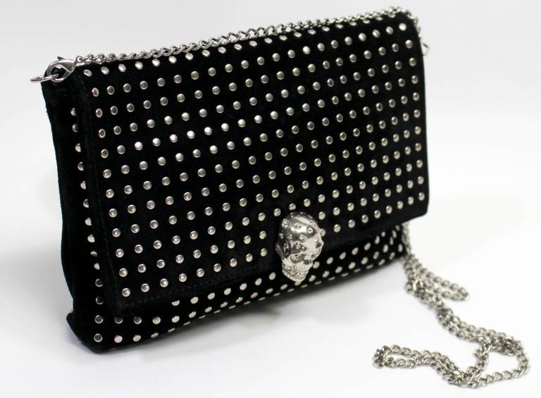 Alexander McQueen Black Suede Clutch Cross Body Bag 3
