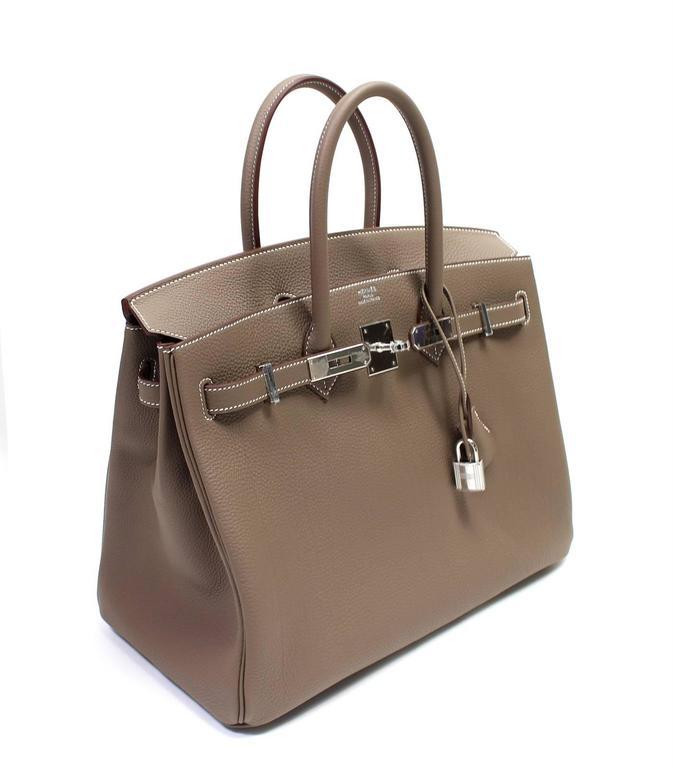 Hermès Etoupe Togo 35 cm Birkin Bag with Palladium Hardware 3