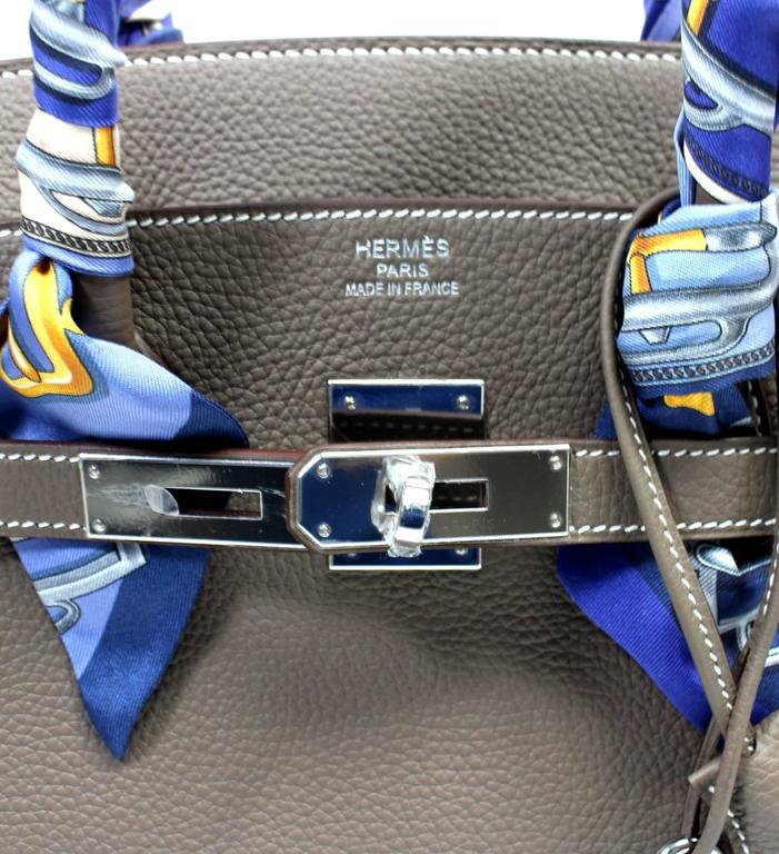 Hermès Etoupe Togo 35 cm Birkin Bag with Palladium Hardware 6