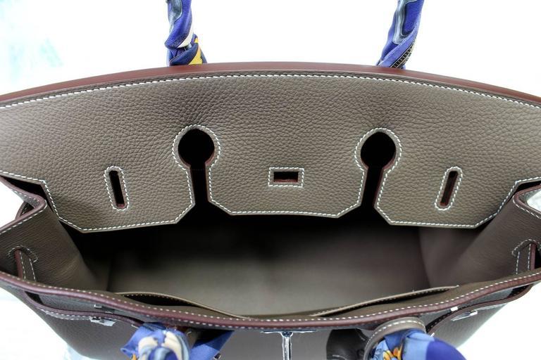 Hermès Etoupe Togo 35 cm Birkin Bag with Palladium Hardware 7