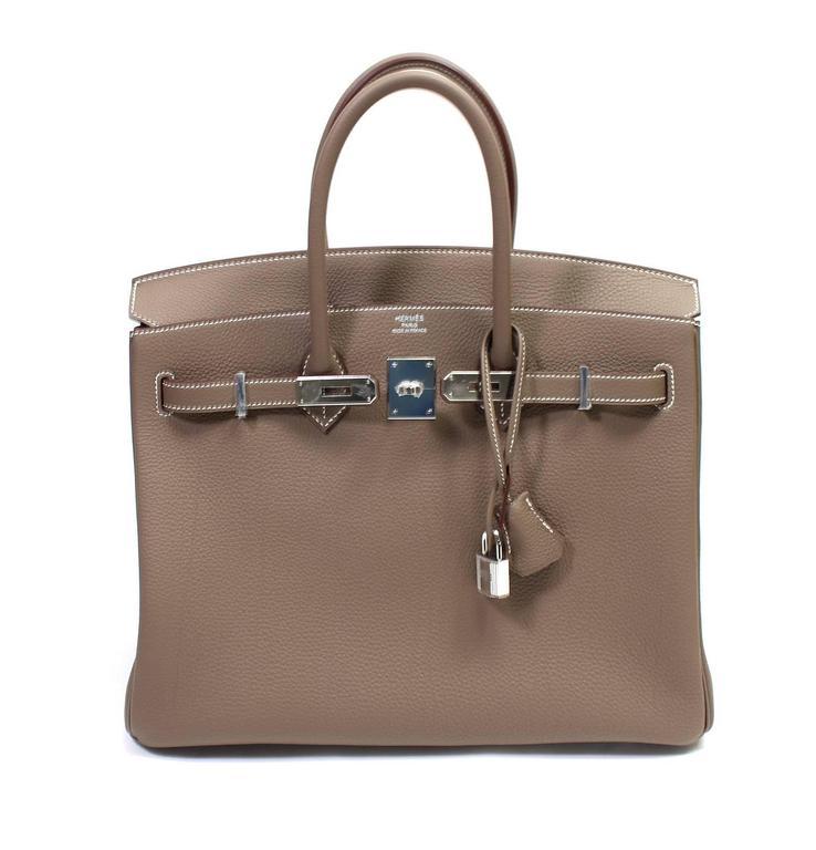 Hermès Etoupe Togo 35 cm Birkin Bag with Palladium Hardware 10