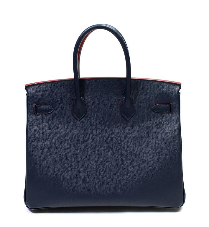 Hermès Bleu Indigo and Rouge H Epsom 35 cm Contour Birkin Bag with GHW 2