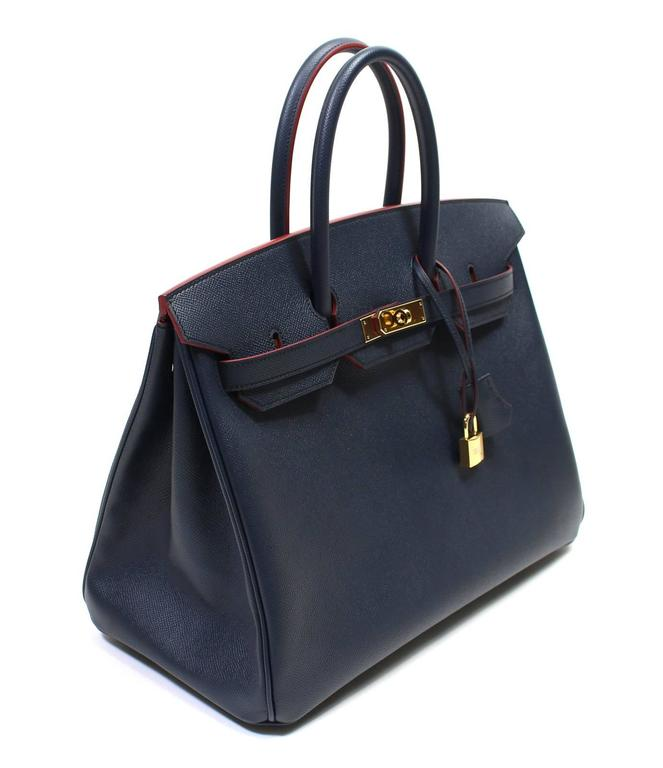Hermès Bleu Indigo and Rouge H Epsom 35 cm Contour Birkin Bag with GHW 3