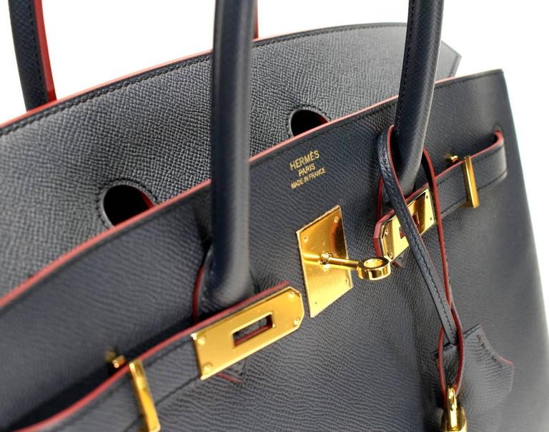 Hermès Bleu Indigo and Rouge H Epsom 35 cm Contour Birkin Bag with GHW 5