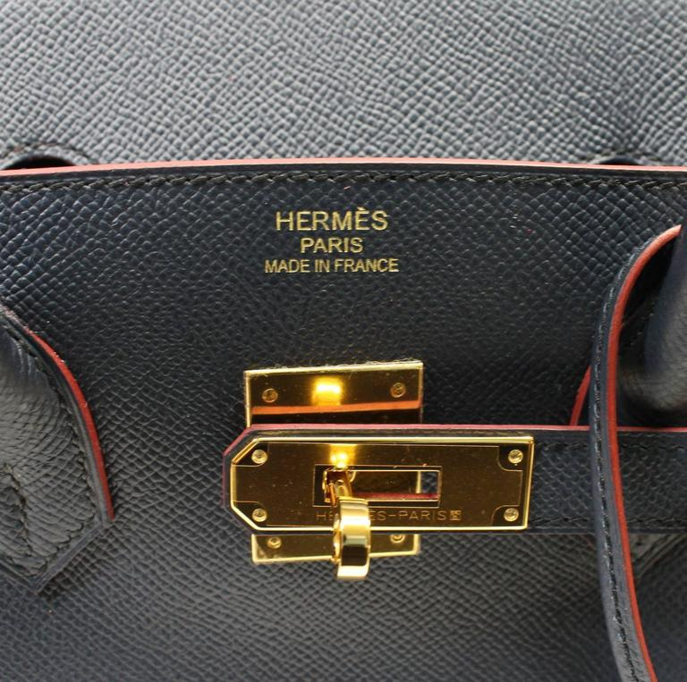 Hermès Bleu Indigo and Rouge H Epsom 35 cm Contour Birkin Bag with GHW 6