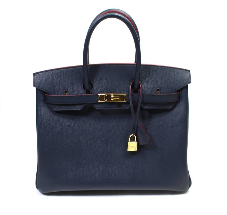 Hermès Bleu Indigo and Rouge H Epsom 35 cm Contour Birkin Bag with GHW 10