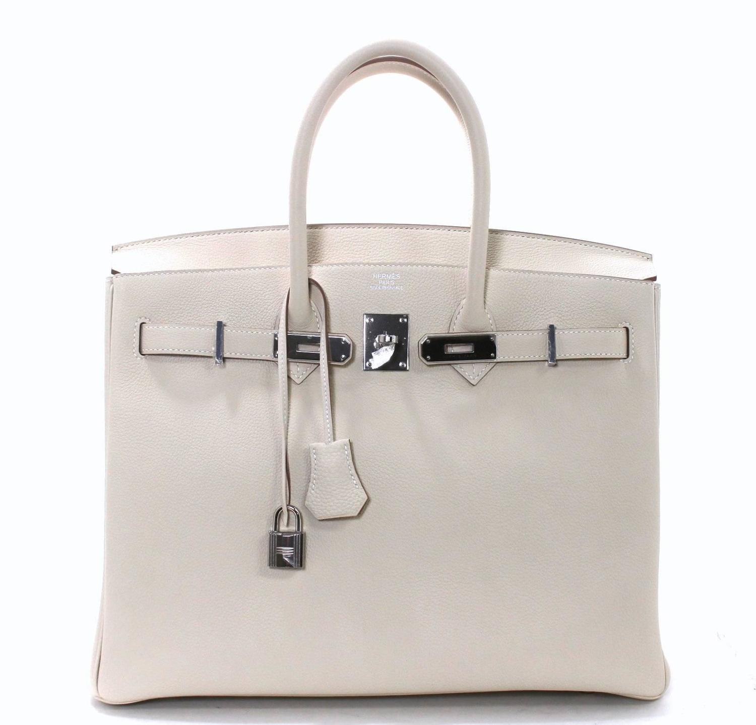 replica hermes evelyne bag - Herm��s Birkin Craie Togo 35 cm with Palladium- Chalk White at 1stdibs