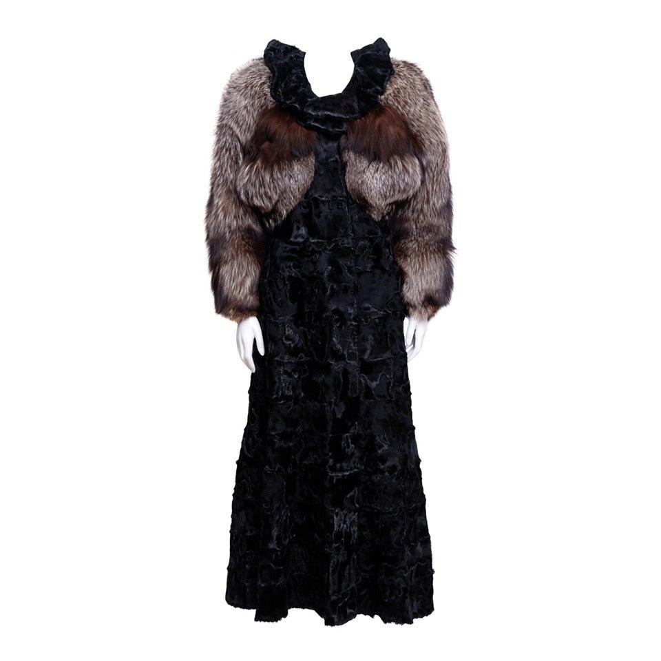 Zandra Rhodes Broadtail and Fox Fur coat 1