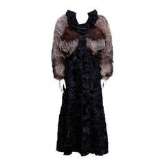 Zandra Rhodes Broadtail and Fox Fur coat