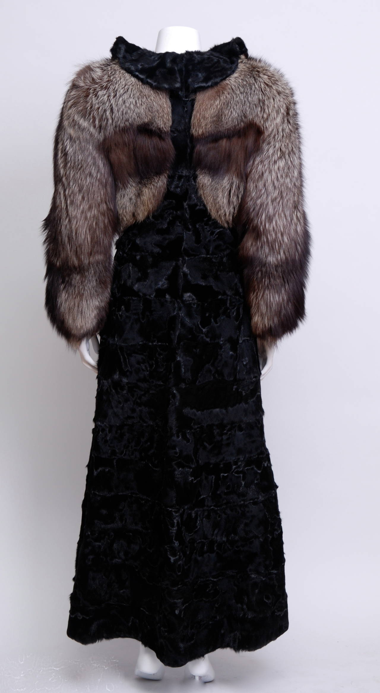 Zandra Rhodes Broadtail and Fox Fur coat 2