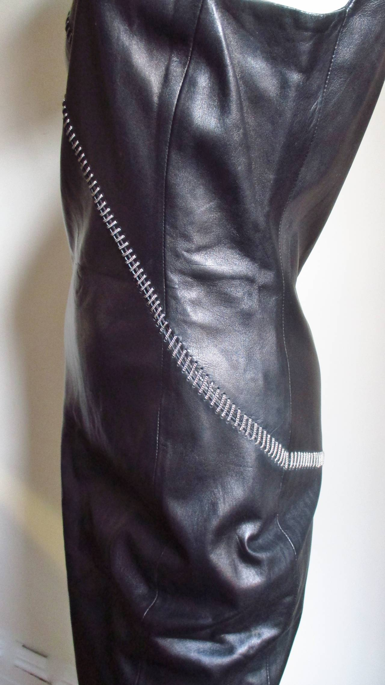 Gianni Versace Leather Dress With Chains 7