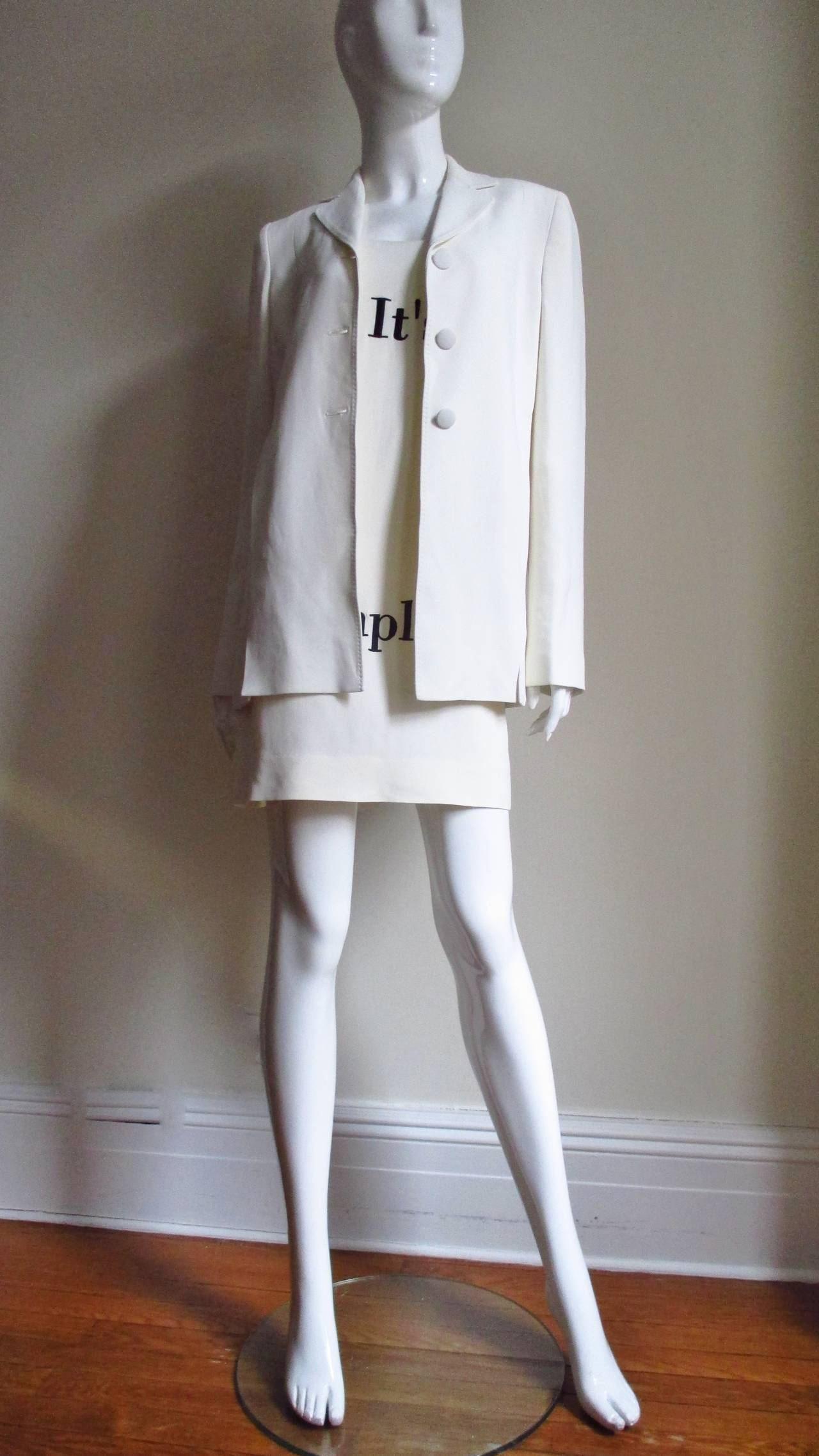 "Women's Moschino Couture "" It's all so simple "" Embroidered Dress & Coat For Sale"