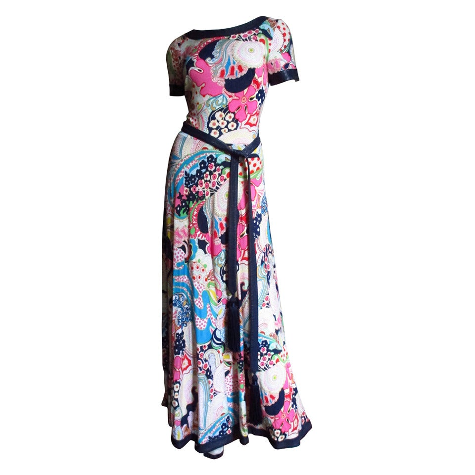 1970's Lanvin Psychadelic Belted Maxi Dress & Wrap 1