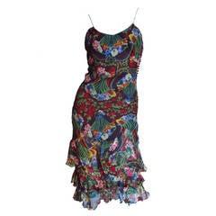 Christian Dior Flounce Hem Silk Dress