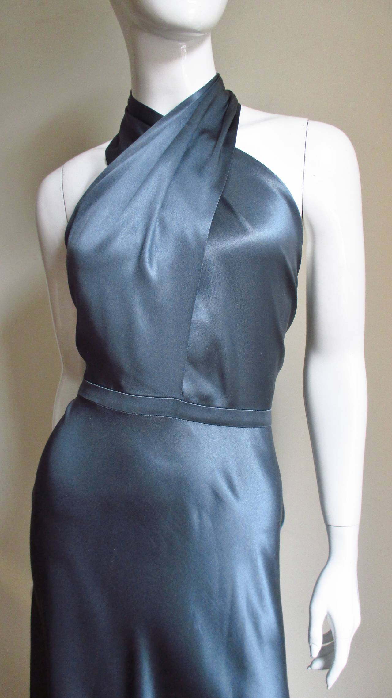 Tom Ford For Gucci Silk Wrap Neck Halter Dress 2