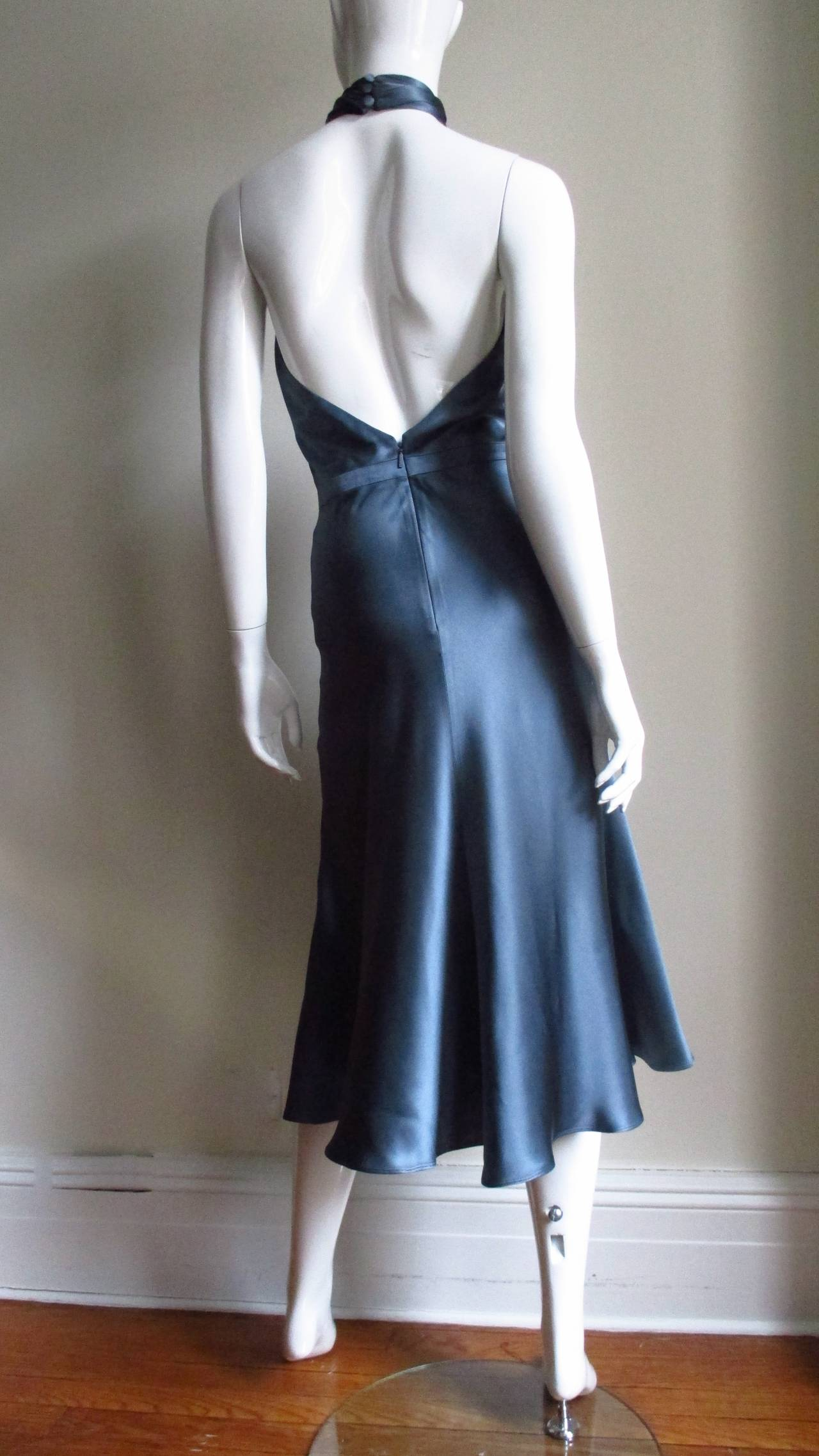 Tom Ford For Gucci Silk Wrap Neck Halter Dress 8