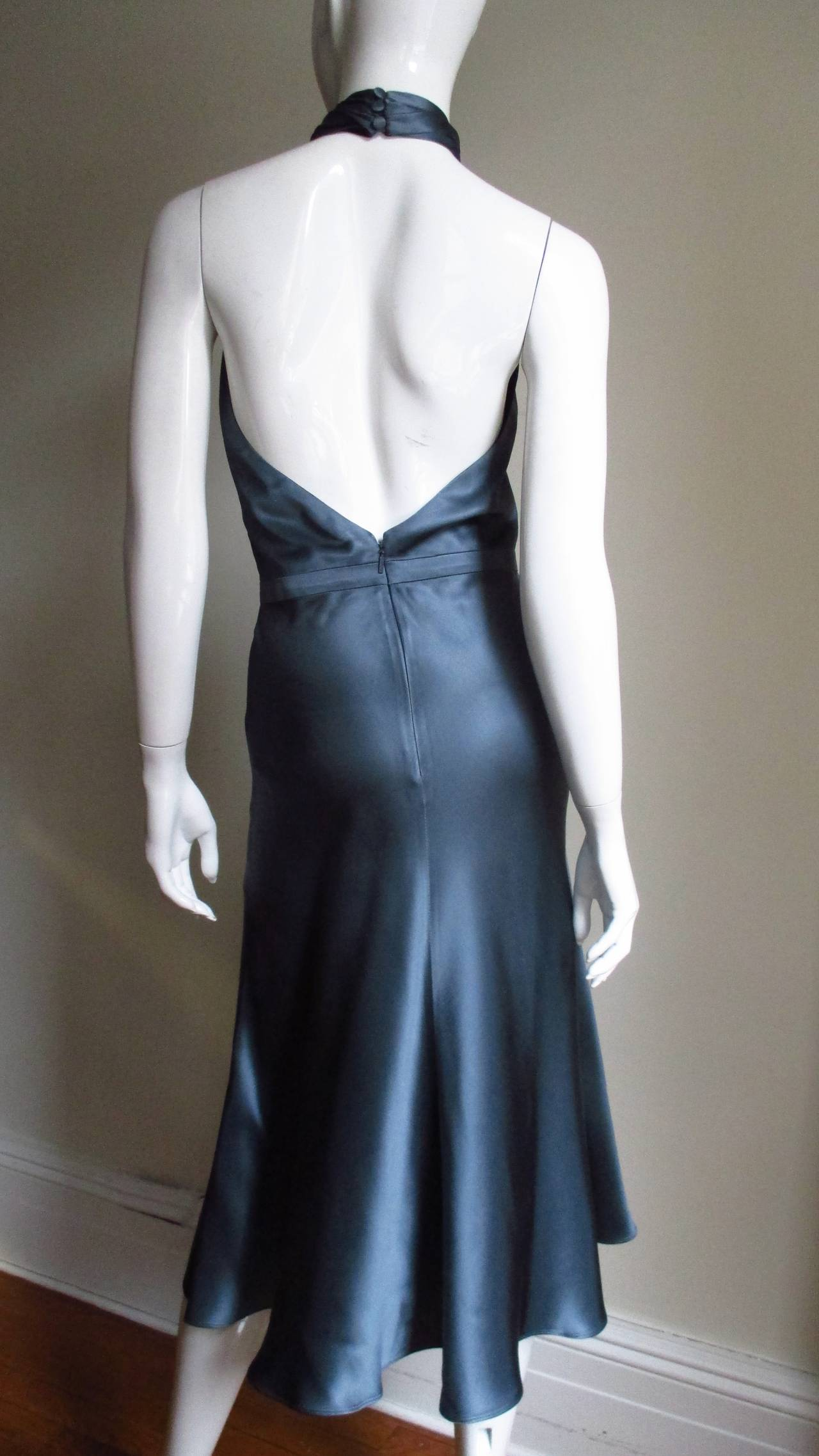 Tom Ford For Gucci Silk Wrap Neck Halter Dress 5