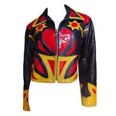 Fabulous Moschino Detailed Leather ' Heart ' Jacket