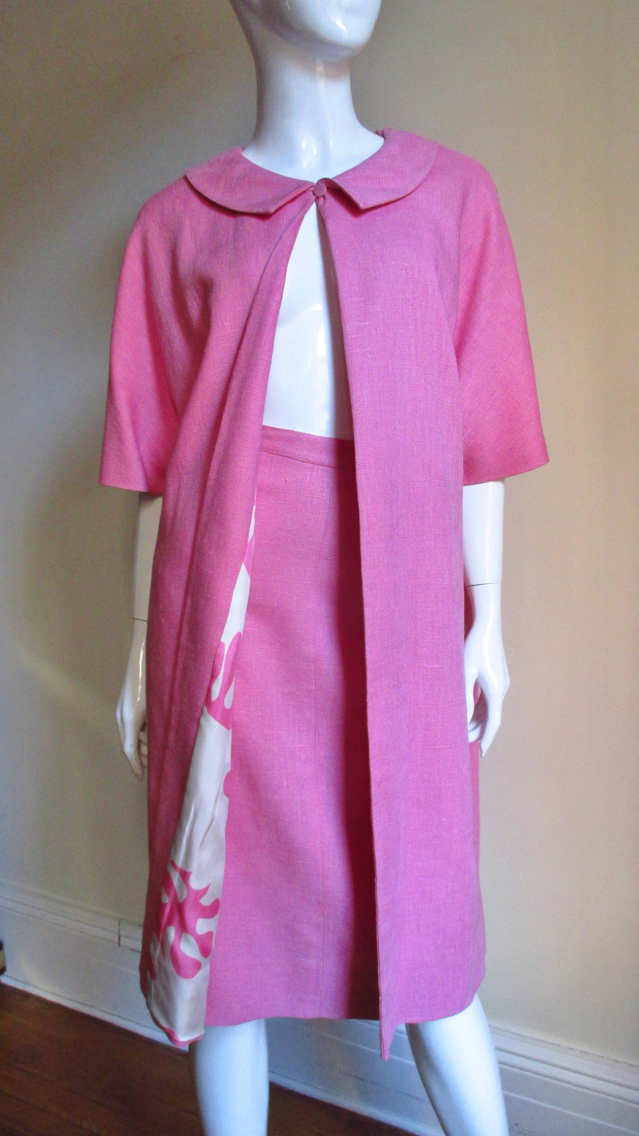 B H Wragge 1960s Linen Coat and Skirt For Sale 2