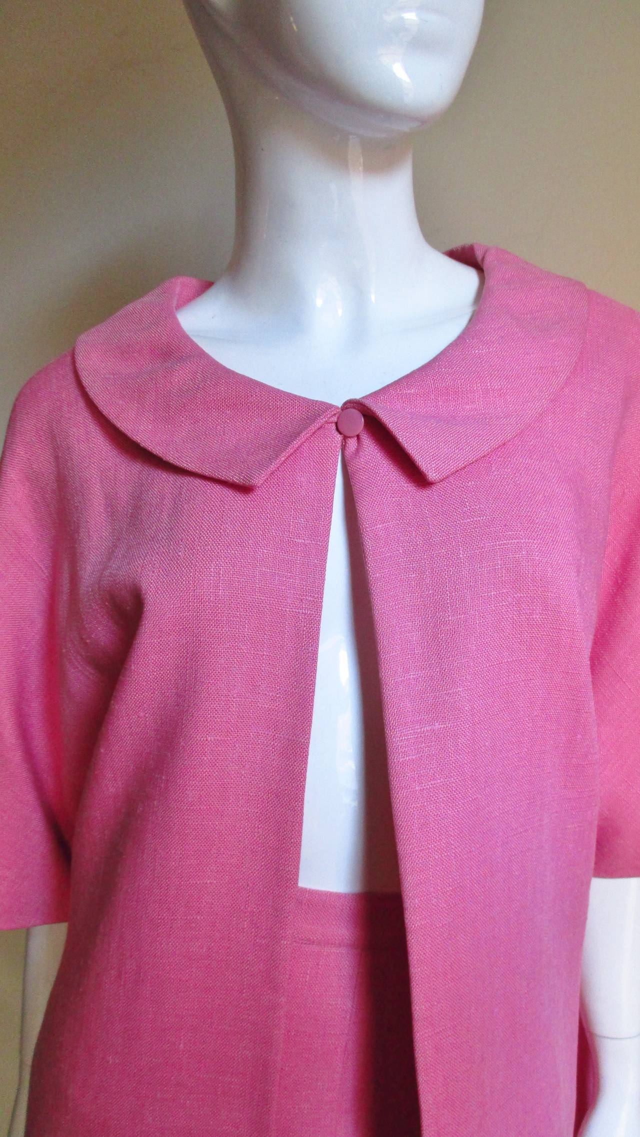 Women's B H Wragge 1960s Linen Coat and Skirt For Sale