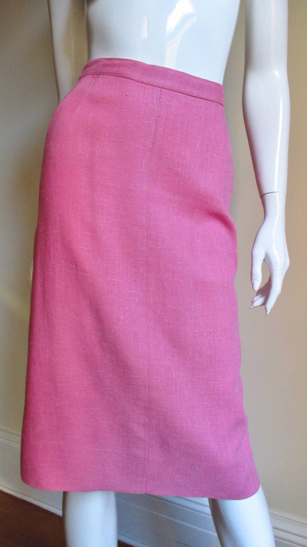 B H Wragge 1960s Linen Coat and Skirt For Sale 1