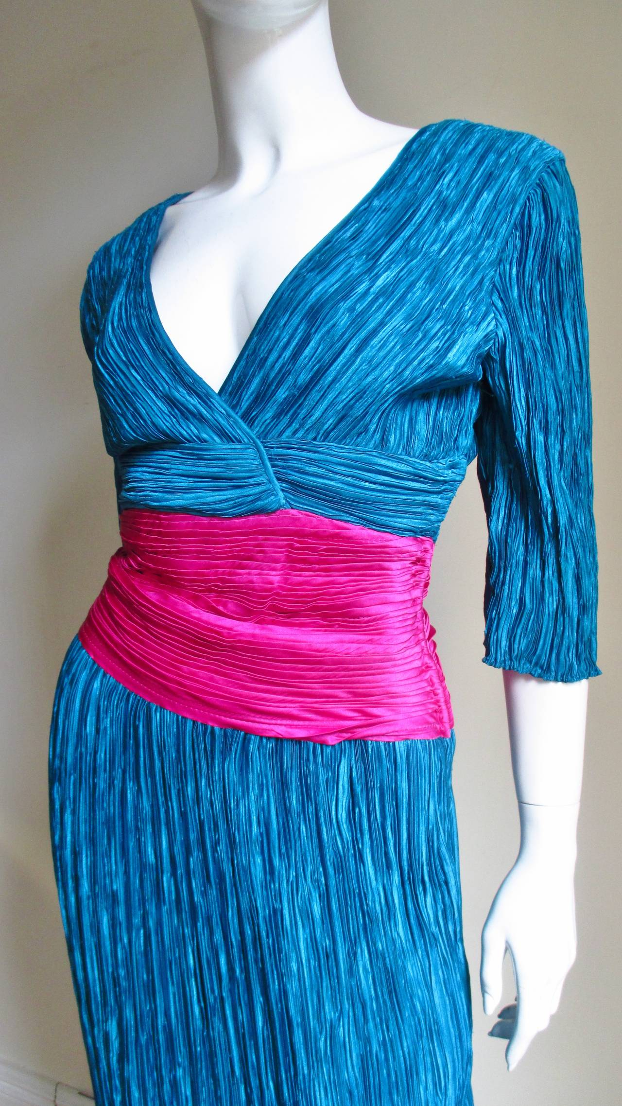 Mary McFadden Couture Colorblock Plunge Gown 3
