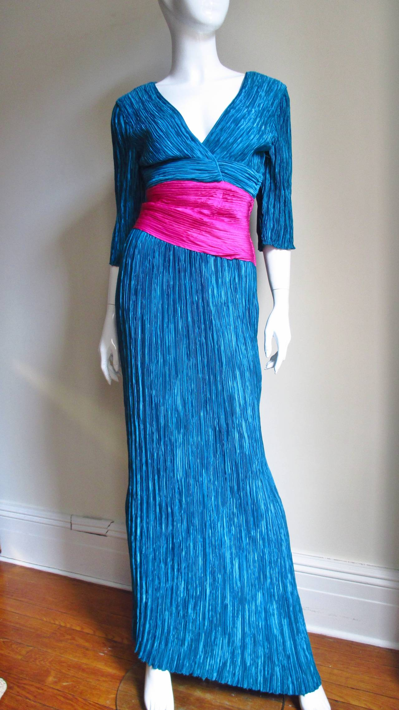 Mary McFadden Couture Colorblock Plunge Gown 5