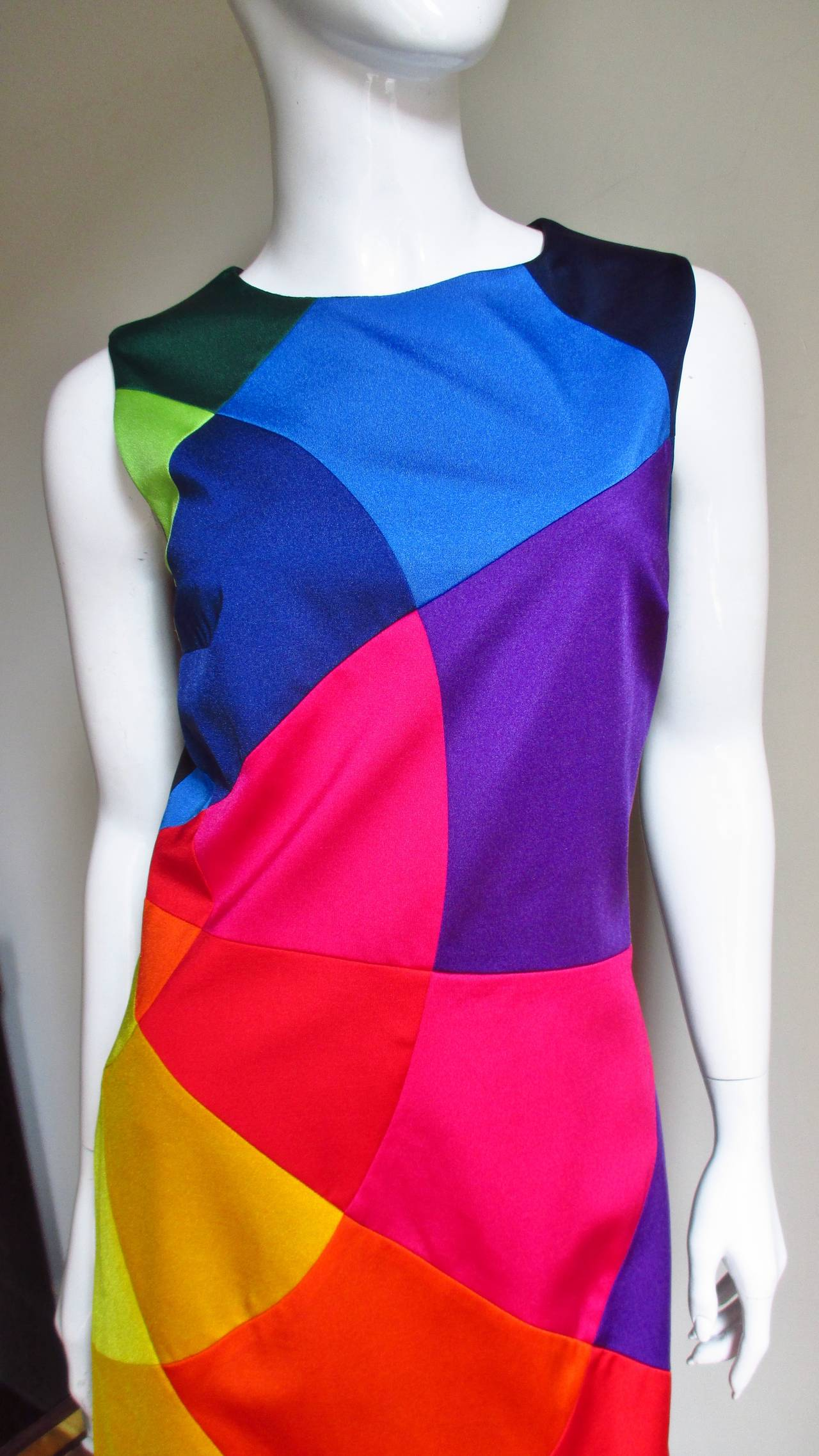 1990s Moschino Rainbow Color Block Dress 2