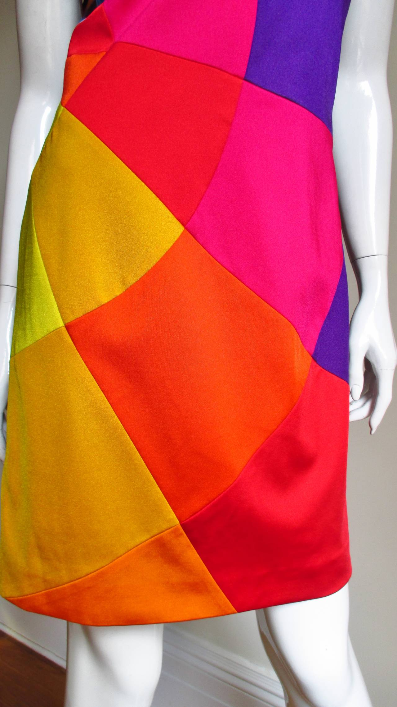 1990s Moschino Rainbow Color Block Dress 3