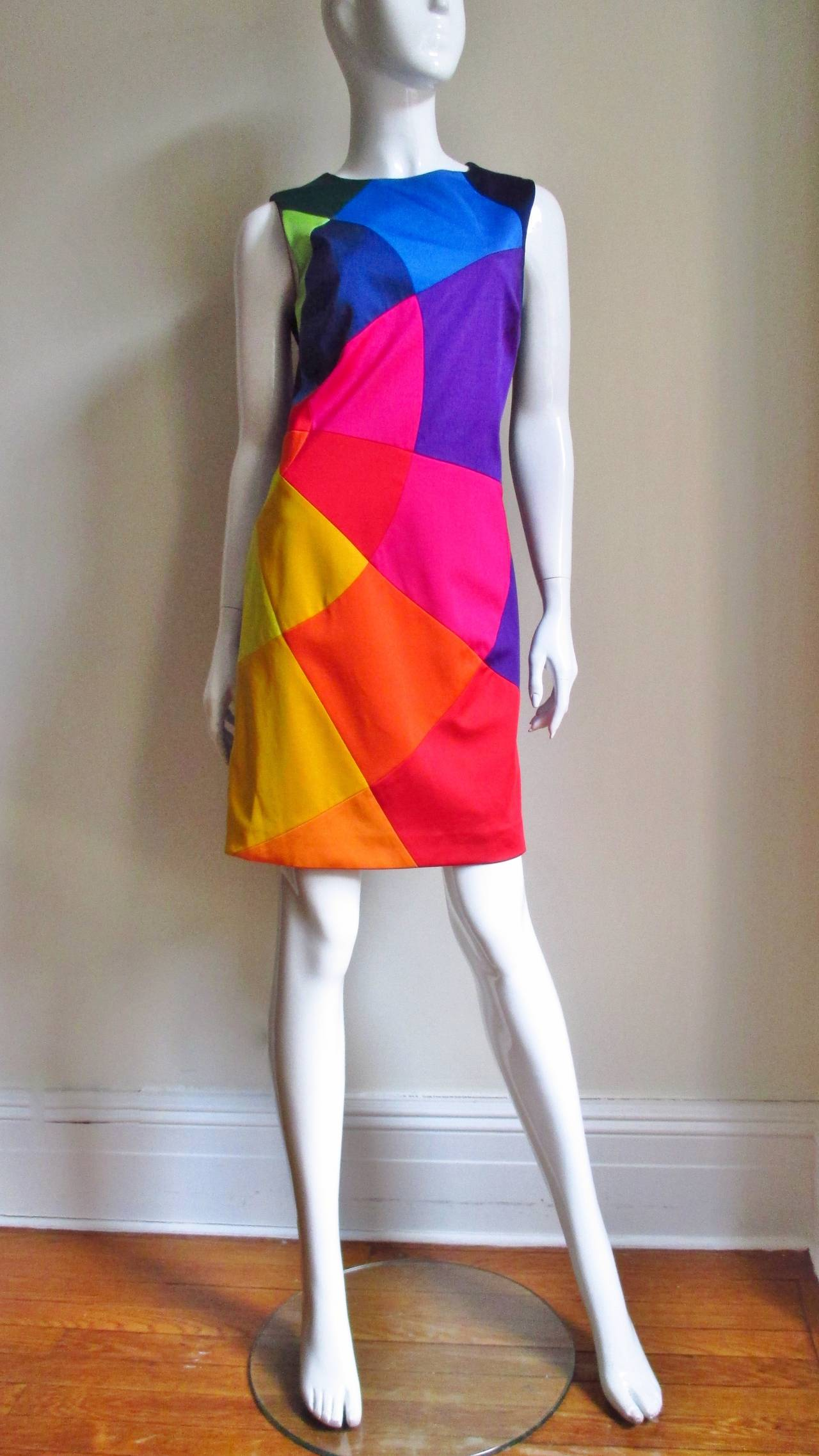 1990s Moschino Rainbow Color Block Dress 4