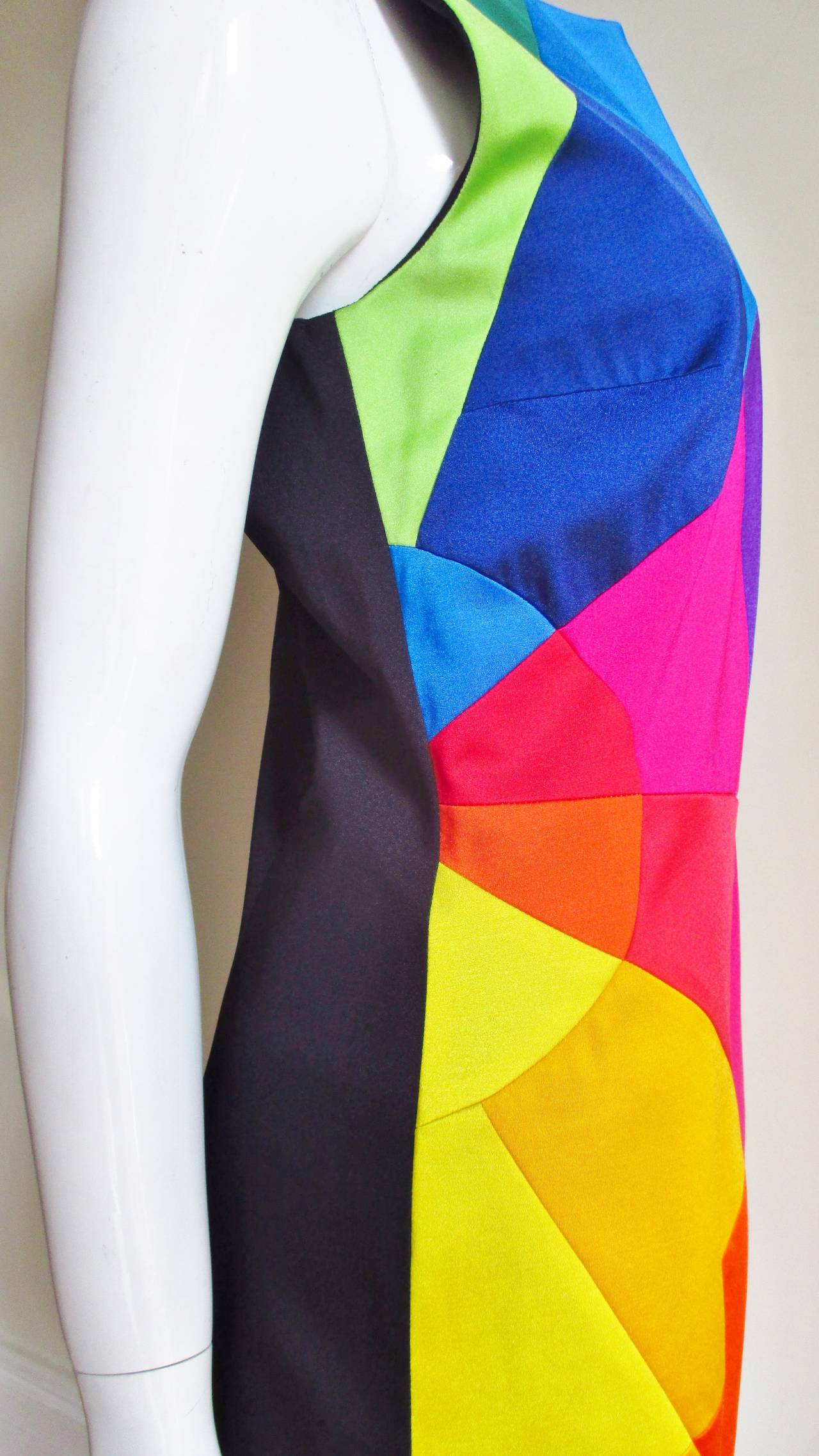 1990s Moschino Rainbow Color Block Dress 5