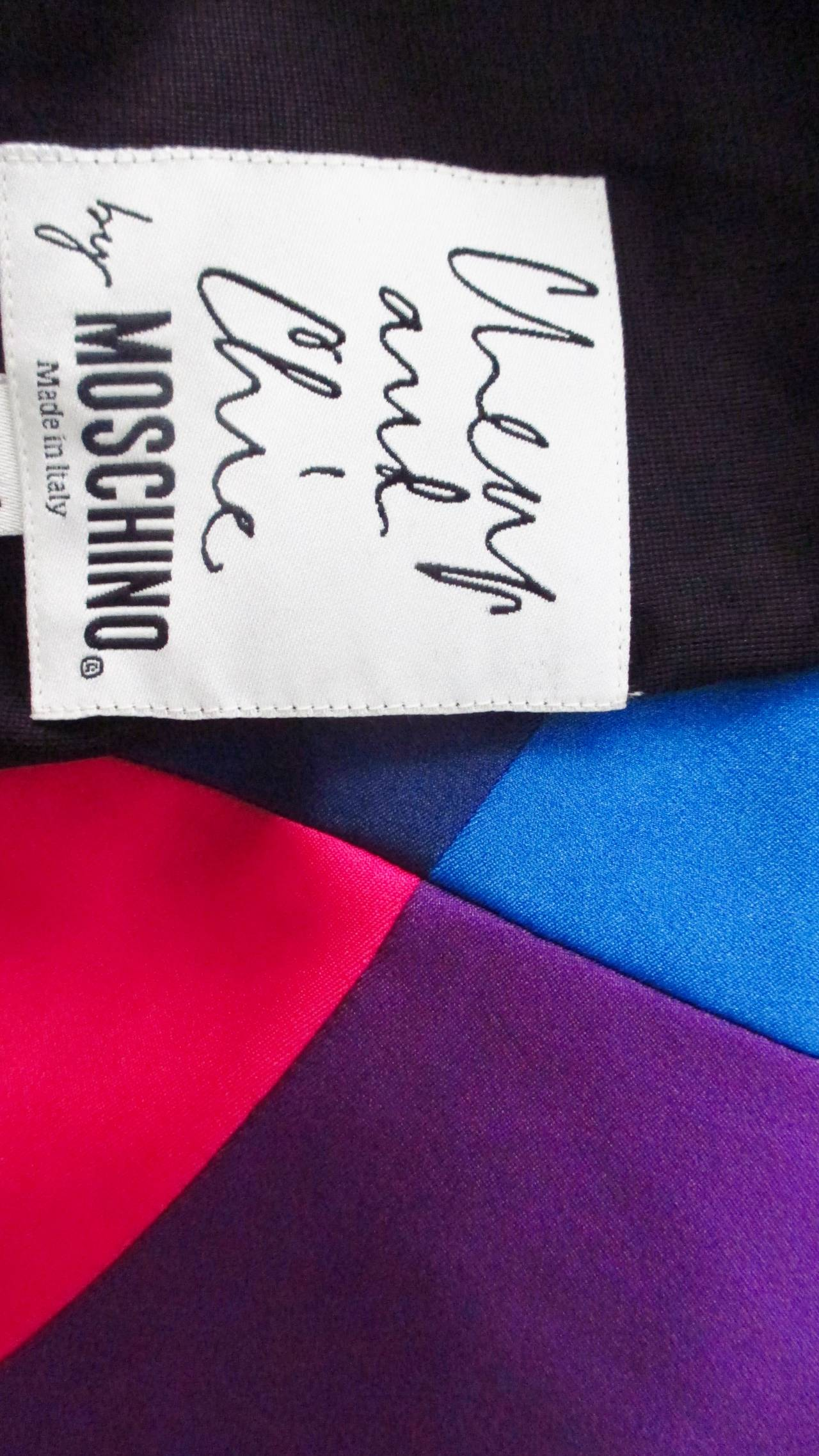 1990s Moschino Rainbow Color Block Dress 7
