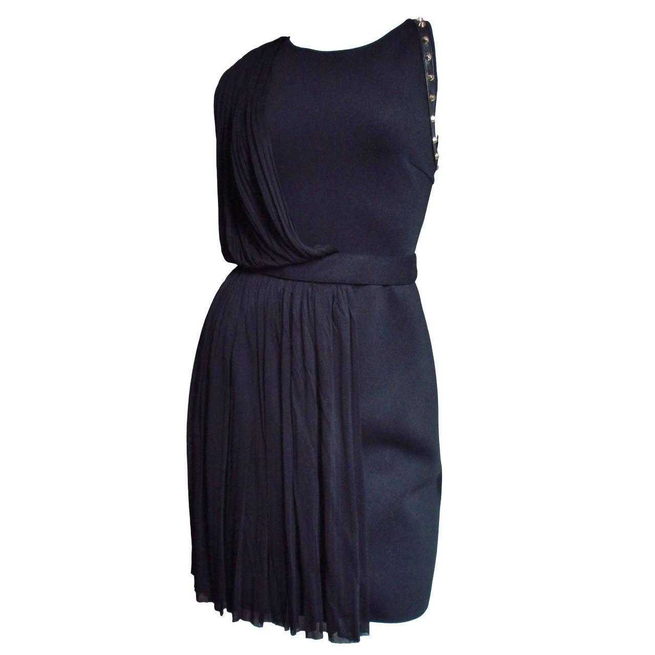 Versace Silk Draped Dress With Studs